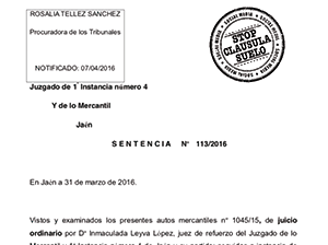 Sentencias favorables clausula suelo plataforma stop for Sentencia clausula suelo 2016